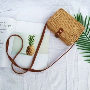 Handwoven Straw Bench Crossbody Rattan Square Bag
